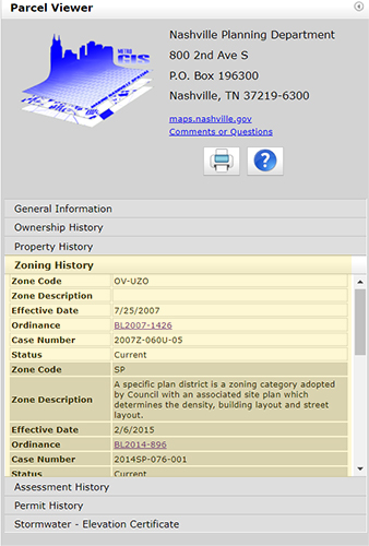 Screenshot of Parcel Viewer showing how to find the zoning history of a parcel as described in the text of this page.