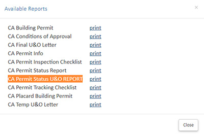 screenshot showing available reports example with orange highlighted title