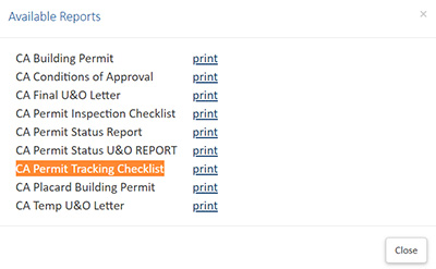 screenshot showing available reports example with different orange highlighted title