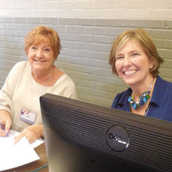 Two poll officials working at Bellevue Community Center