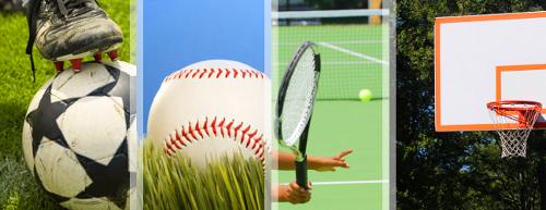 Collage of various sporting goods; basketball hoop; baseball; soccer ball; tennis racquet and ball