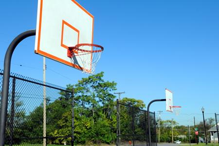 Monroe Park's basketball hoops