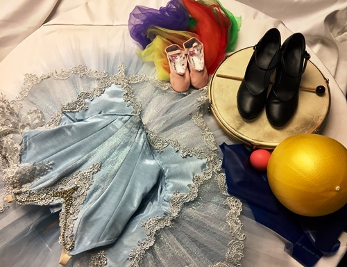 display of dance shoes and clothing