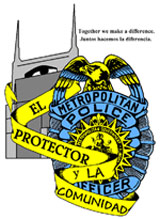 El Protector logo with badge and city in background