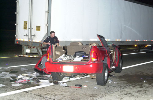 Car crash with semi truck